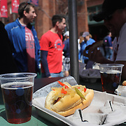 A hot dog and beer during the Boston Red Sox V Tampa Bay Rays, Major League Baseball game on Jackie Robinson Day, Fenway Park, Boston, Massachusetts, USA, 15th April, 2013. Photo Tim Clayton