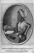 Phillis Wheatley (1753-1784) from frontispiece of her 'Poems on Various Subects ...'. Enslaved aged sevn, purchased by Wheatley family of Boston, Mass, who educated and encouraged her.  First African-American woman to be published.