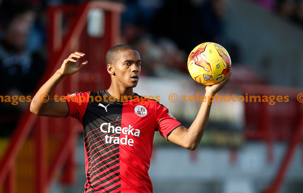 Crawley&rsquo;s Lewis Young during the Sky Bet League 2 match between Crawley Town and York City at the Checkatrade.com Stadium in Crawley. October 31, 2015.<br /> James Boardman / Telephoto Images<br /> +44 7967 642437