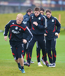 LIVERPOOL, ENGLAND - Thursday, March 20, 2008: Liverpool's John Arne Riise, captain Steven Gerrard MBE and Fernando Torres training at Melwood ahead of the Premiership clash with Manchester United on Easter Sunday. (Photo by David Rawcliffe/Propaganda)