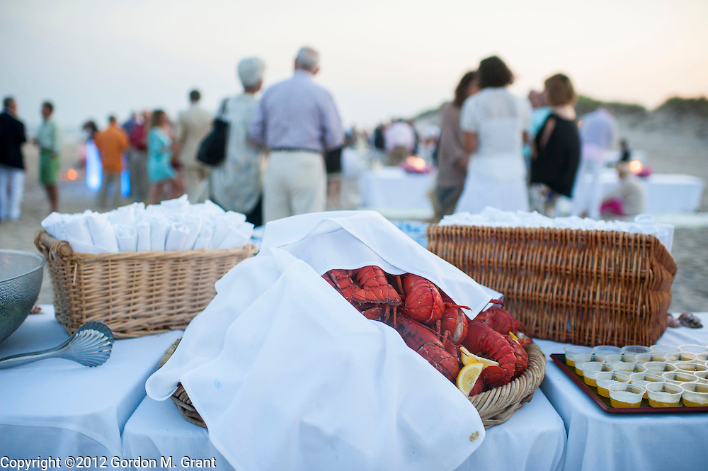 Sagaponack, NY - 6/29/12 - Lobster is served during a clambake at Sagg Main Beach in Sagaponack, NY June 29, 2012.     (Photo by Gordon M. Grant)