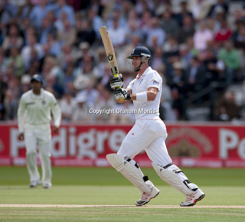 Kevin Pietersen bats during the first npower Test Match between England and India at Lord's Cricket Ground, London.  Photo: Graham Morris (Tel: +44(0)20 8969 4192 Email: sales@cricketpix.com) 22/07/11