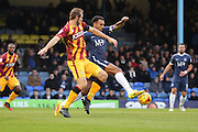 Southend United defender Anton Ferdinand (35) battles for possesion with Bradford City striker James Hanson (9) during the EFL Sky Bet League 1 match between Southend United and Bradford City at Roots Hall, Southend, England on 19 November 2016. Photo by Matthew Redman.