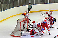 2020-01-19 | Umeå, Sweden:A player mess in  AllEttan during the game  between Teg and Vallentuna at A3 Arena ( Photo by: Michael Lundström | Swe Press Photo )<br /> <br /> Keywords: Umeå, Hockey, AllEttan, A3 Arena, Teg, Vallentuna, mltv200119