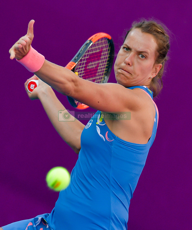 DOHA, Feb. 14, 2019  Barbora Strycova of Czech Republic hits a return during the women's singles second round match between Anna Blinkova of Russia and Barbora Strycova of Czech Republic at the 2019 WTA Qatar Open in Doha, Qatar, Feb. 13, 2019. Strycova won 2-1. (Credit Image: © Nikku/Xinhua via ZUMA Wire)