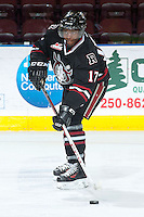 KELOWNA, CANADA -FEBRUARY 5: Vukie Mpofu LW #17 of the Red Deer Rebels skates with the puck during warm up against the Kelowna Rockets on February 5, 2014 at Prospera Place in Kelowna, British Columbia, Canada.   (Photo by Marissa Baecker/Getty Images)  *** Local Caption *** Vukie Mpofu;