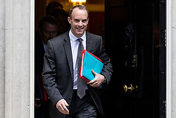 © Licensed to London News Pictures. 16/10/2018. London, UK. Secretary of State for Exiting the European Union Dominic Raab leaves 10 Downing Street after the Cabinet meeting. Photo credit: Rob Pinney/LNP
