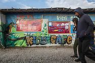Calais, Pas-de-Calais, France - 16.10.2016    <br />     <br /> Police forces near the camp.  &rdquo;Jungle&quot; refugee camp on the outskirts of the French city of Calais. Many thousands of migrants and refugees are waiting in some cases for years in the port city in the hope of being able to cross the English Channel to Britain. French authorities announced that they will shortly evict the camp where currently up to up to 10,000 people live.<br /> <br /> Polizisten nahe des Camps. &rdquo;Jungle&rdquo; Fluechtlingscamp am Rande der franzoesischen Stadt Calais. Viele tausend Migranten und Fluechtlinge harren teilweise seit Jahren in der Hafenstadt aus in der Hoffnung den Aermelkanal nach Gro&szlig;britannien ueberqueren zu koennen. Die franzoesischen Behoerden kuendigten an, dass sie das Camp, indem derzeit bis zu bis zu 10.000 Menschen leben K&uuml;rze raeumen werden. <br /> <br /> Photo: Bjoern Kietzmann