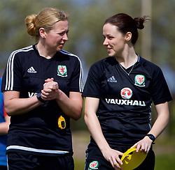 LARNACA, CYPRUS - Thursday, March 1, 2018: Wales' manager Jayne Ludlow and assistant manager Lauren Smith during a training session in Larnaca on day three of the Cyprus Cup tournament. (Pic by David Rawcliffe/Propaganda)
