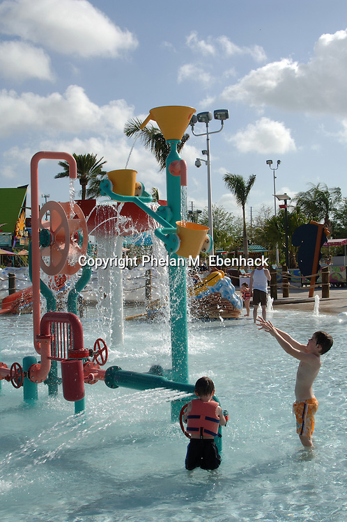 Children play in the Kata's Kookaburra Cove kid's area at Sea World's new waterpark Aquatica in Orlando, Florida.