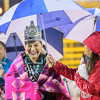Miss Navajo2016-2017 Ronda Joe wraps up under the rain in a commemorative Pendleton blanket in the Dean C. Jackson Arena at the Navajo Nation Fairgrounds in Window Rock Saturday.