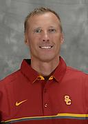 Oct 5, 2016; Los Angeles, CA, USA; Southern California Trojans jumps coach Sheldon Blockburger poses at portrait session.