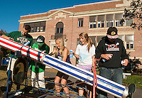 Riley Stone, Kyle Chiasson, Mackenzie Howe, Gabby Smith and Logan Bossey work on their 4th of July Holiday themed float Thursday afternoon in preparation for LHS Homecoming festivities on Friday.  (Karen Bobotas/for the Laconia Daily Sun)