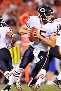 Sept. 2, 2010; Cleveland, OH, USA; Chicago Bears quarterback Dan LeFevour (15) during the third quarter against the Cleveland Browns at Cleveland Browns Stadium. The Cleveland Browns beat the Chicago Bears 13-10. Mandatory Credit: Jason Miller-US PRESSWIRE