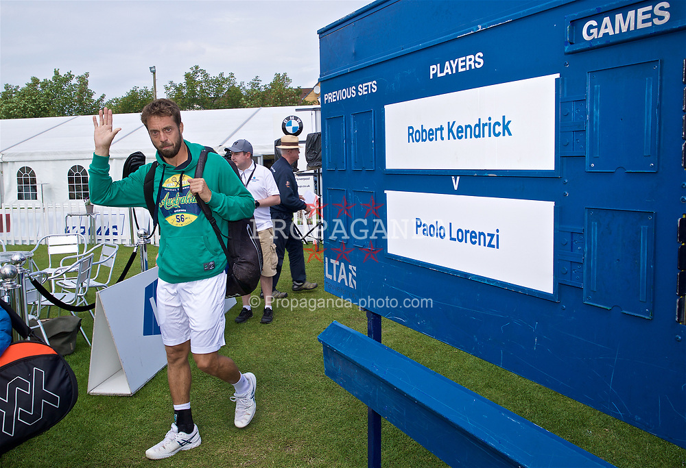 LIVERPOOL, ENGLAND - Sunday, June 23, 2019: Paulo Lorenzi (ITA) walks onto court for the Men's Final during Day Four of the Liverpool International Tennis Tournament 2019 at the Liverpool Cricket Club. (Pic by David Rawcliffe/Propaganda)