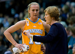 December 22, 2009; San Francisco, CA, USA;  Tennessee Lady Volunteers head coach Pat Summitt talks with forward Alicia Manning (15) during the first half against the San Francisco Dons at War Memorial Gym.  Tennessee defeated San Francisco 89-34.