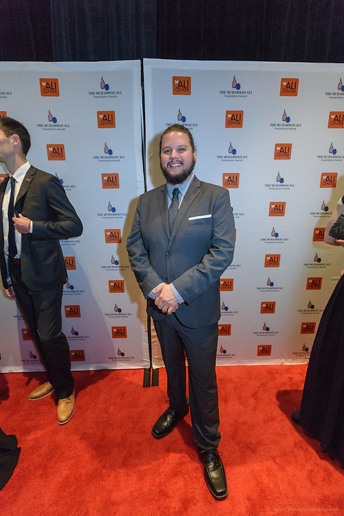 Artist Patrick Maxcy on the red carpet at the fourth annual Muhammad Ali Humanitarian Awards Saturday, Sept. 17, 2016 at the Marriott Hotel in Louisville, Ky. (Photo by Brian Bohannon for the Muhammad Ali Center)