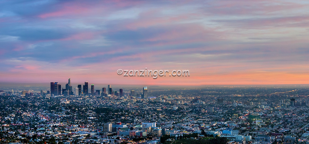 Los Angeles, CA, Cityscape, Sunset, Skyline Panorama, Twilight CGI Backgrounds, ,Beautiful Background