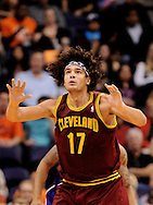 Nov. 09, 2012; Phoenix, AZ, USA; Cleveland Cavaliers center Anderson Varejao (17) reacts on the court during the game against the Phoenix Suns during the second half at US Airways Center. The Suns defeated the Cavaliers 107-105. Mandatory Credit: Jennifer Stewart-US PRESSWIRE