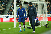 Reece James (#24) of Chelsea walks back to the bench after being unable to continue due to injury during the Premier League match between Newcastle United and Chelsea at St. James's Park, Newcastle, England on 18 January 2020.