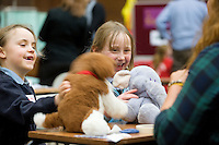 NUI Galway Medical Student Volunteer Rebecca Sherhan (Athlone ) (RHS)at the Teddy Bear Hospital where Caitlin Cunningham Roisin O Meara from Kilconnell NS , Co.Galway had their sick teddys fixed. Photo:Andrew Downes...