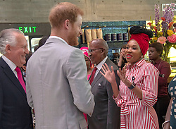 The Duke of Sussex meets Nelson Mandela's granddaughter Zamaswazi Dlamini- Mandela during his visit to the Nelson Mandela centenary exhibition at Southbank Centre's Queen Elizabeth Hall, London.
