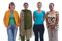 Multiracial group of women in the studio,