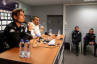 Dominique Arribage / President Olivier Sadran  Teddy Richer / Mickael Debeve  - 16.03.2015 - Nouvel entraineur  - Conference de presse de Toulouse <br />