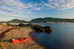 A kayak in the Porcupine Islands in Maine's Acadia National Park.  Bar Harbor.