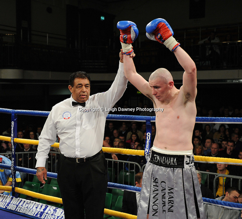 Peter McDonagh defeats Jason Nesbitt in a 6x3 min Welterweight contest at York Hall, Bethnal Green, London on Friday 13th January 2012. Queensbury Promotions © Leigh Dawney 2012