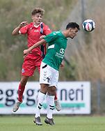 Hans Christian Bonnesen (FC Helsingør) og Yonas Nielsen (AB) under kampen i Sydbank Pokalen, 1. runde,  mellem AB og FC Helsingør den 6. august 2019 på Gladsaxe Stadion (Foto: Claus Birch)