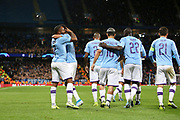 Manchester City celebrate Manchester City midfielder Raheem Sterling (7) goal 1-0  during the Champions League match between Manchester City and Dinamo Zagreb at the Etihad Stadium, Manchester, England on 1 October 2019.