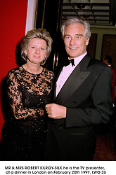 MR & MRS ROBERT KILROY-SILK he is the TV presenter,  at a dinner in London on February 20th 1997.LWO 26