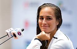 September 26, 2018 - Monica Puig of Puerto Rico talks to the media after winning her third-round match at the 2018 Dongfeng Motor Wuhan Open WTA Premier 5 tennis tournament (Credit Image: © AFP7 via ZUMA Wire)