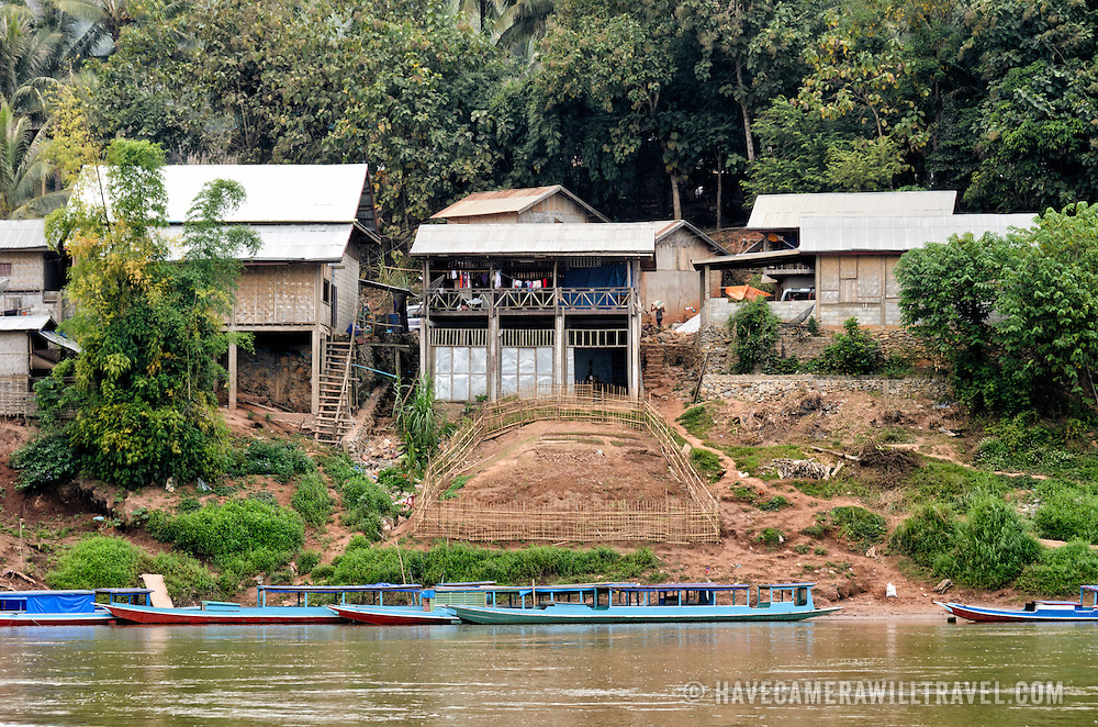 Houses on the waterfront of Nong Khiaw in nothern Laos.