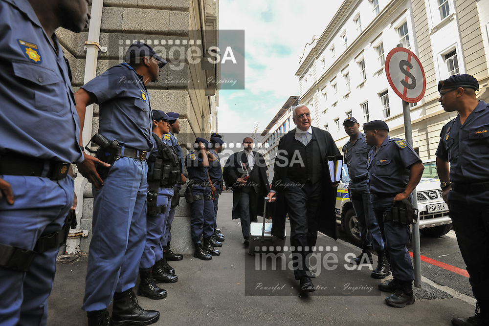 CAPE TOWN, SOUTH AFRICA - Monday 13 October 2014, Francois van Zyl SC, defence counsel for Shrien Dewani, arrives at court during Day 4 of the Shrien Dewani trial at the Cape High Court before Judge Jeanette Traverso. Dewani is caused of hiring hit men to murder his wife, Anni. Anni Ninna Dewani (n&eacute;e Hindocha; 12 March 1982 &ndash; 13 November 2010) was a Swedish woman who, while on her honeymoon in South Africa, was kidnapped and then murdered in Gugulethu township near Cape Town on 13 November 2010 (wikipedia).<br /> Photo by Roger Sedres