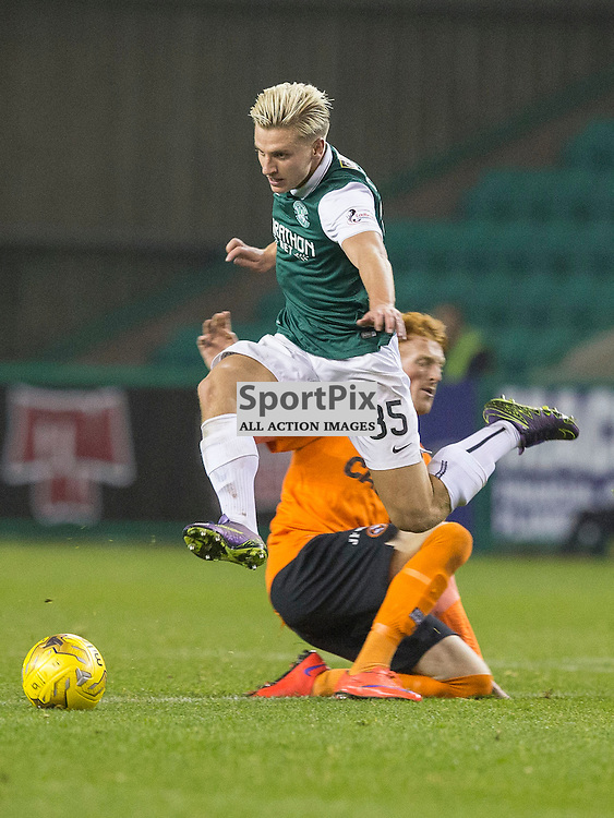 Hibernian FC v Dundee Utd FC<br /> <br /> Jason Cummings (Hibernian) in action during the Quarter Final of the Scottish League Cup match between Hibernian and Dundee Utd FC at Easter Road Stadium on Wednesday 4 November 2015.<br /> <br /> Picture Alan Rennie.