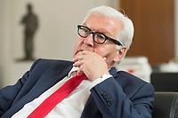27 JUL 2016, BERLIN/GERMANY:<br /> Frank-Walter Steinmeier, SPD, Bundesaussenminister, waehrend einem Interview, in seinem Buero, Auswaertiges Amt<br /> IMAGE: 20160727-01-029<br /> KEYWORDS: Büro