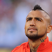 EAST RUTHERFORD, NEW JERSEY - JUNE 26:   Arturo Vidal #8 of Chile during team presentations before the Argentina Vs Chile Final match of the Copa America Centenario USA 2016 Tournament at MetLife Stadium on June 26, 2016 in East Rutherford, New Jersey. (Photo by Tim Clayton/Corbis via Getty Images)