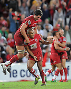 The Reds celebrate their last minute win against the Crusaders ~ Super 15 rugby (Round 15) - Reds v Crusaders played at Suncorp Stadium, Brisbane, Australia on Sunday 29th May 2011 ~ Photo : Steven Hight (AURA Images) / Photosport