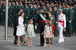 19.06.2014, Madrid, ESP, Abdankung K&ouml;nig Juan Carlos, Kr&ouml;nungszeremonie, im Bild King Felipe VI of Spain and Queen Letizia of Spain arrive at Congreso de los Diputados with their children Princess Sofia and infant Elena // during the celebration of the coronation ceremony. Kin Juan I of Spain abdicated on his son Felipe at the beginning of June. Madrid, Spain on 2014/06/19. EXPA Pictures &copy; 2014, PhotoCredit: EXPA/ Alterphotos/ Victor Blanco<br /> <br /> *****ATTENTION - OUT of ESP, SUI*****