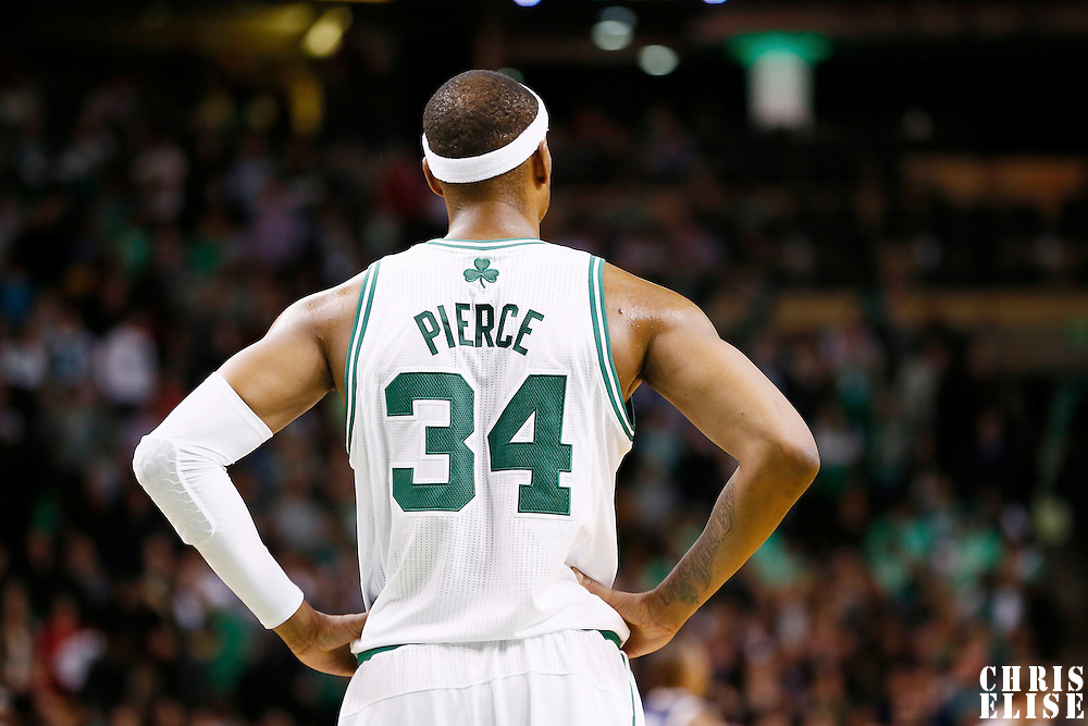 14 November 2012: Boston Celtics small forward Paul Pierce (34) rests during the Boston Celtics 98-93 victory over the Utah Jazz at the TD Garden, Boston, Massachusetts, USA.