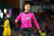 Referee Davide Massa (ITA) during the Group G Europa League match between Rangers FC and FC Porto at Ibrox Stadium, Glasgow, Scotland on 7 November 2019.