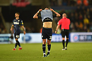 Jack Harrison (22) of Leeds United looks dejected at full time after a 2-2 draw during the EFL Sky Bet Championship match between Swansea City and Leeds United at the Liberty Stadium, Swansea, Wales on 21 August 2018.