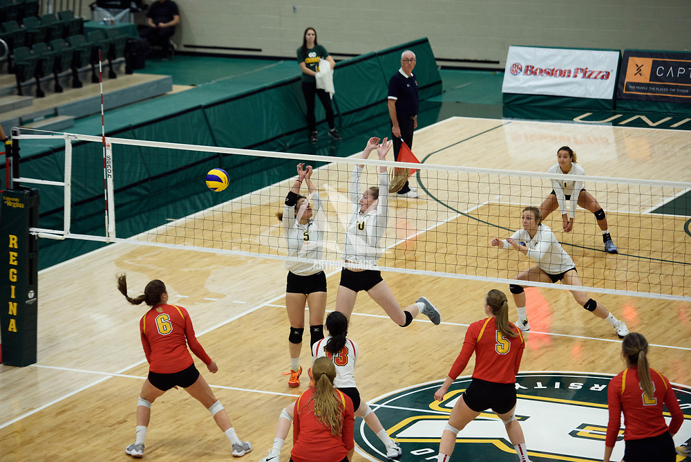 2nd year setter Satomi Togawa (5) of the Regina Cougars in action during Women's Volleyball home opener on October 20 at Centre for Kinesiology, Health and Sport. Credit: Casey Marshall/Arthur Images