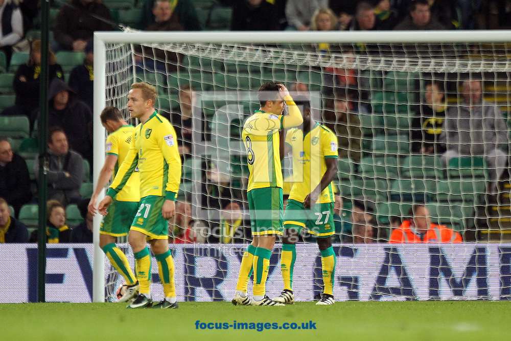 The Norwich players look dejected after conceding their side&rsquo;s 2nd goal during the third round of the FA Cup at Carrow Road, Norwich<br /> Picture by Paul Chesterton/Focus Images Ltd +44 7904 640267<br /> 07/01/2017