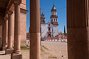 The Iglesia de San Diego De Alcalá as seen from the entry to the Hacienda de Jaral de Berrio in Jaral de Berrios, Guanajuato, Mexico. The abandoned Jaral de Berrio hacienda was once the largest in Mexico and housed over 6,000 people on the property.