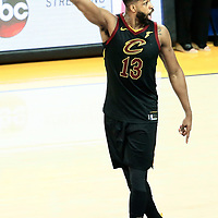 OAKLAND, CA - MAY 31: Tristan Thompson #13 of the Cleveland Cavaliers reacts in Game One of the 2018 NBA Finals won 124-114 in OT by the Golden State Warriors over the Cleveland Cavaliers at the Oracle Arena on May 31, 2018 in Oakland, California. NOTE TO USER: User expressly acknowledges and agrees that, by downloading and or using this photograph, User is consenting to the terms and conditions of the Getty Images License Agreement. Mandatory Copyright Notice: Copyright 2018 NBAE (Photo by Chris Elise/NBAE via Getty Images)
