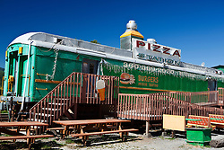Pizza and burger restaurant made out of converted railroad car, Elbe, Washington, United States of America
