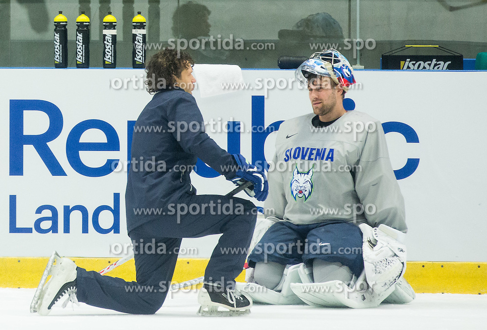 Gaber Glavic and Robert Kristan of Slovenia during practice session of Slovenian Ice Hockey National Team at Day 4 of 2015 IIHF World Championship, on May 4, 2015 in Practice arena Vitkovice, Ostrava, Czech Republic. Photo by Vid Ponikvar / Sportida